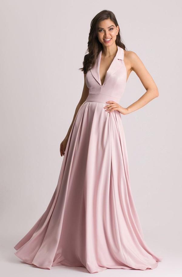 vestido longo rose frente única para madrinha de casamento