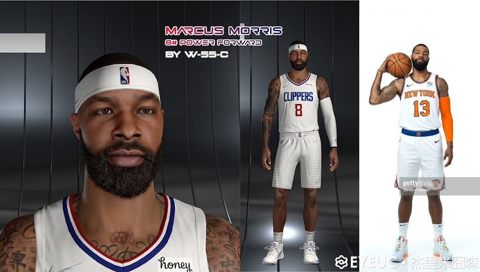 NBA 2K22 Marcus Morris Cyberface and BOdy Model by White 55 Chocolate