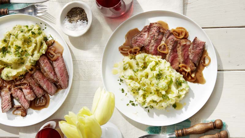 Strip Steak With Lemon Mashed Potatoes