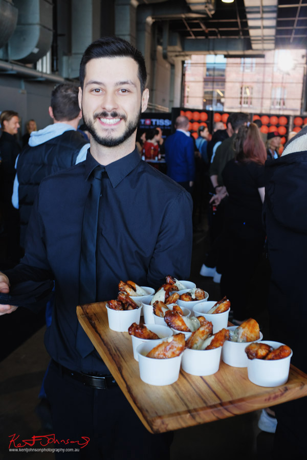 Beautiful Buffalo wings being served at the TISSOT NBA Finals Party Sydney - Photography by Kent Johnson.