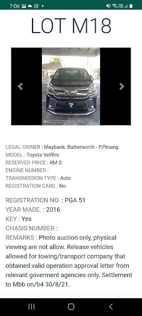 Kereta Toyota velfire (2016) kena lelong pada harga Reserved Price RM0