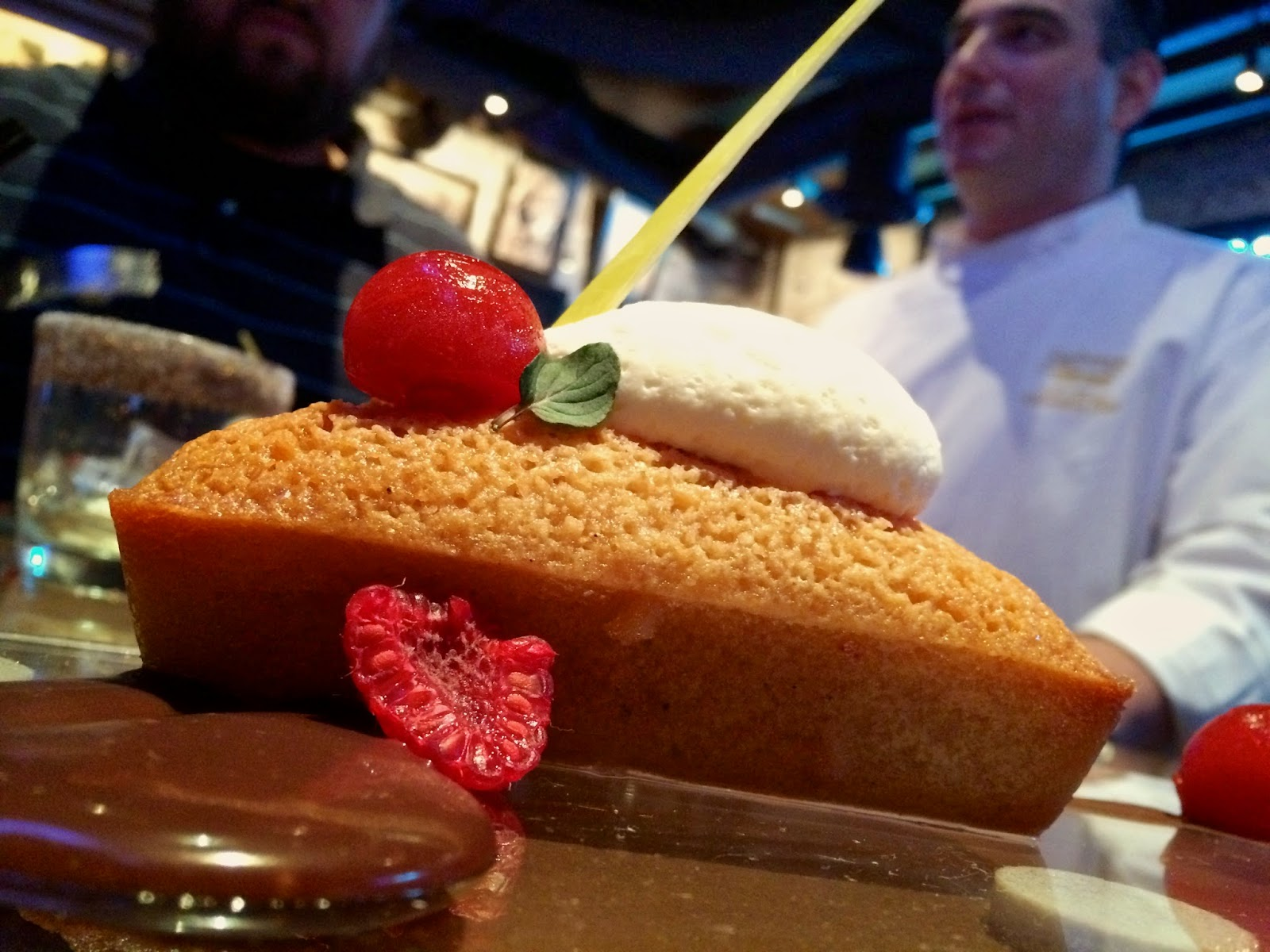 Jameson and Bee Sting Honey Almond Cake,  Strawberry Jelly Spheres and Chocolate Ganache