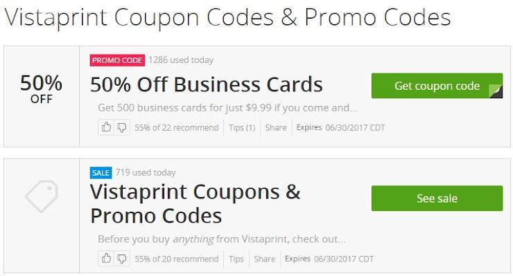 Cupones de descuento para tarjetas de presentación y material publicitario en Vistaprint