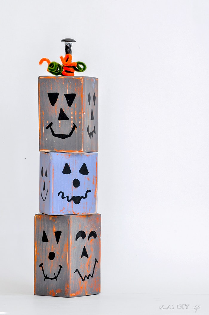 Cute DIY wood pumpkin blocks
