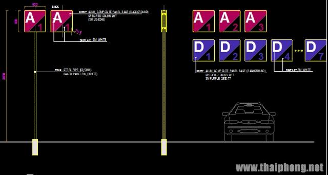 Bản vẽ bảng hiệu chỉ dẫn đường bộ file autocad dwg