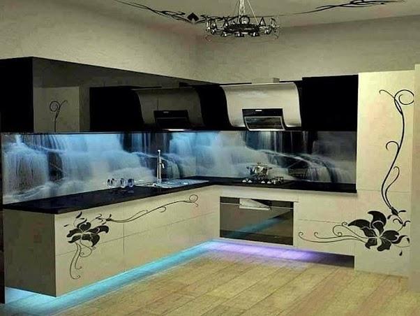 Desain Dapur Modern Unik Motif Air Terjun