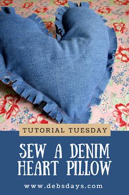 Homemade Denim Heart Pillow Sewing Project