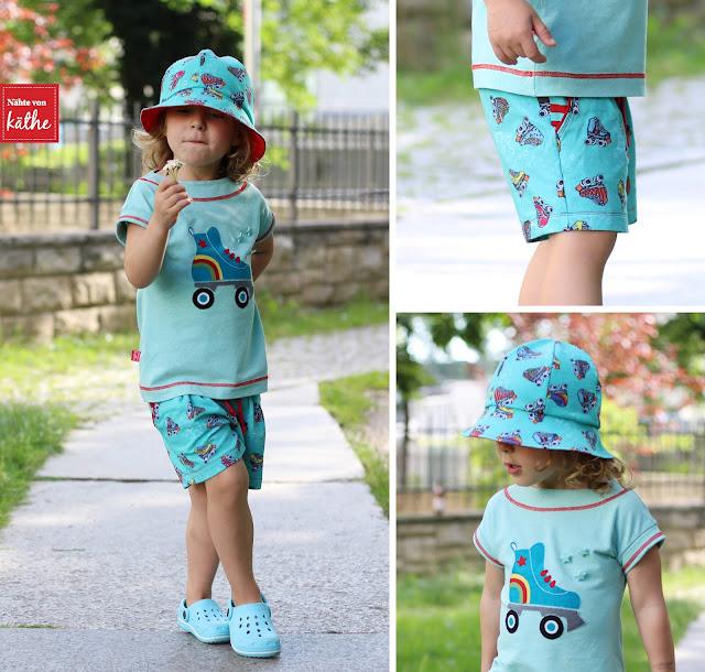 Retro-Skates von Lila-Lotta, Mini-20-Minuten-Shirt von Muckelie, Freebook Sommerhut Happy von Rosarosa, Hose aus Julika Mini von Prülla