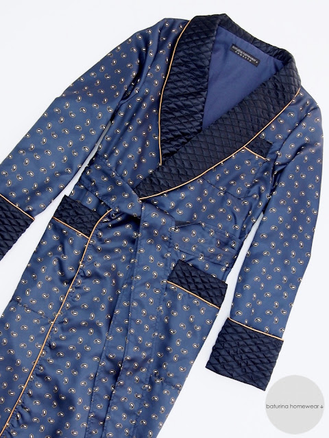 mens dark blue paisley silk dressing gown quilted long luxury robe warm