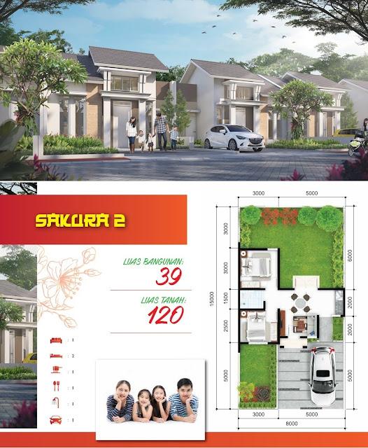Gambar dan Denah Tipe SAKURA 2 - 39/120 (Klik pada gambar untuk memperbesar)
