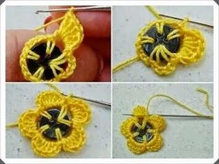 Tığ işi Düğmeli Çiçek Motifi Yapımı, Resimli Açıklamalı  3