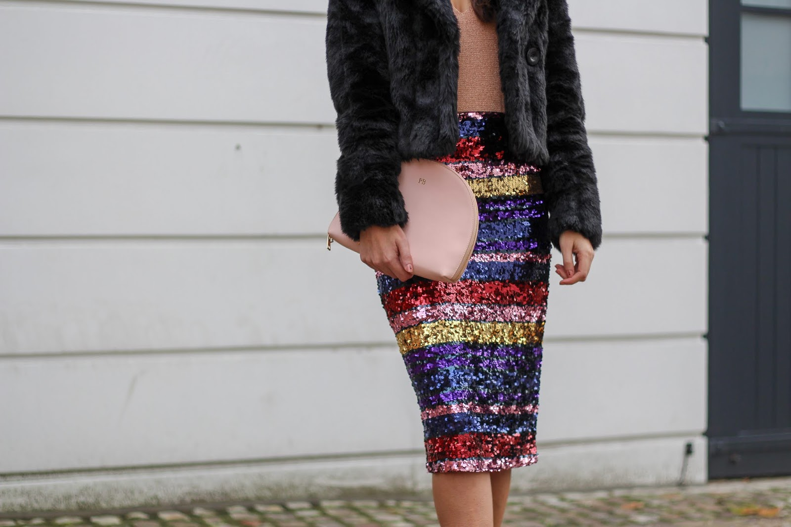 oasis rainbow sequin midi skirt peexo
