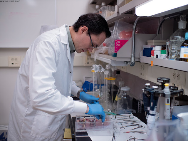 Dr. Luke Michaelson working in a lab