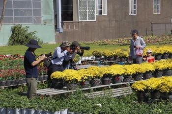 Hình ảnh các nhiếp ảnh gia đang chụp ảnh tại Làng Hoa Sa Đéc