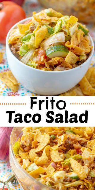 Frito salad is a fun twist on a taco salad. It is loaded with flavor and is perfect for potlucks, but also makes a fun dinner main dish. The homemade catalina salad dressing is easy to make and the salad is packed full of goodies.