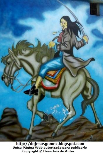 Mural de Túpac Amaru II montado a caballo. Foto de Túpac Amaru II de Jesus Gómez
