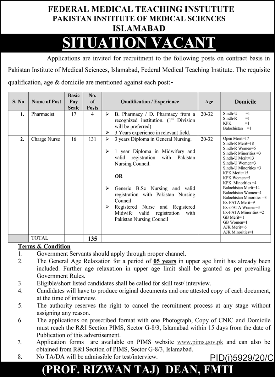 Pakistan Institute of Medical Sciences PIMS Islamabad Jobs 2021 in Pakistan