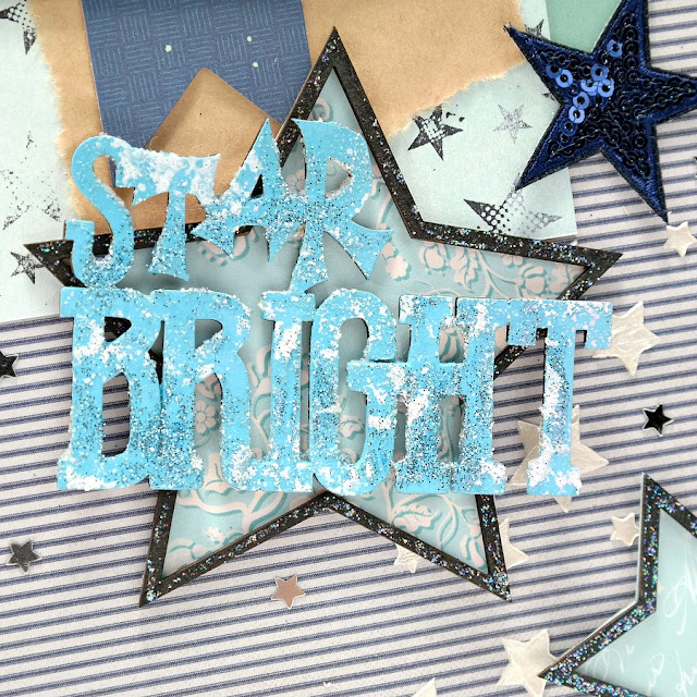 Star Light Star Bright Embellished Chipboard Star and Stamped and Stenciled Star Mixed Media Background