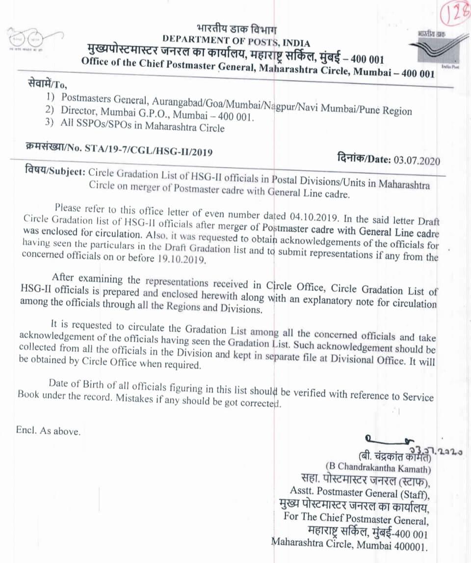 Gradation list of HSG II official of Maharashtra Circle