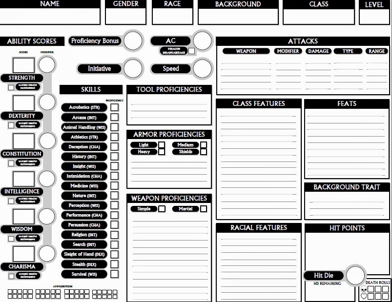 1 Edition Character Sheet