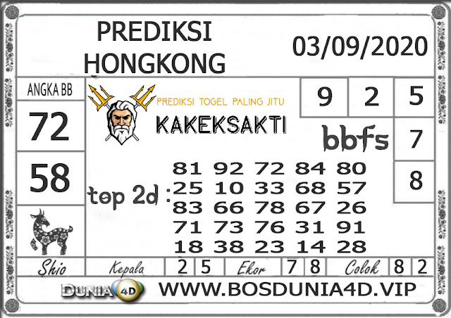 Prediksi Togel HONGKONG DUNIA4D 03 SEPTEMBER 2020