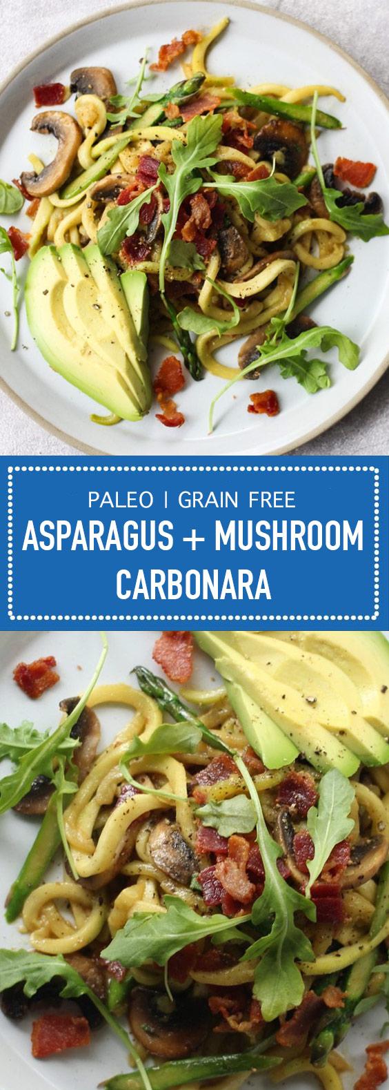 Asparagus + Mushroom Carbonara (Paleo & Grain Free)