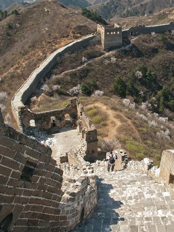 Vue sur les dénivellés importants que présente la Grande Muraille