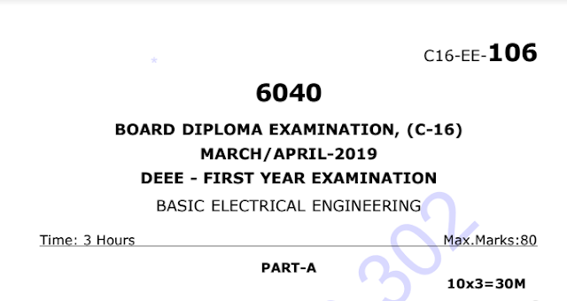 Diploma Basic Electricl Engineering model question papers c16 eee March-April 2019 | sbtetonline