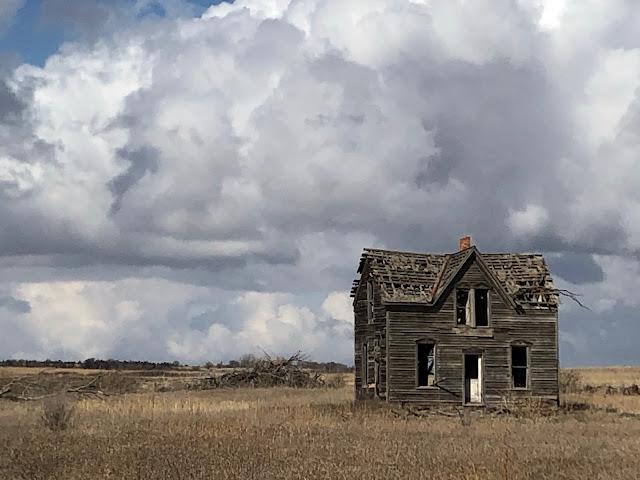 abandoned house on a prairie