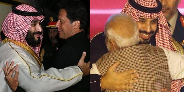 Image Attribute: L- Saudi Crown Prince Mohammed bin Salman with Pakistani Prime Minister Imran Khan at Islamabad Gandhara Int'l Airport (Feb 17, 2019)/ R - Saudi Crown Prince Mohammed bin Salman with Indian Prime Minister at Indira Gandhi Int'l Airport, New Delhi  (Feb 19, 2019) / Source: Twitter