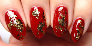 Red and Gold Flake Nails
