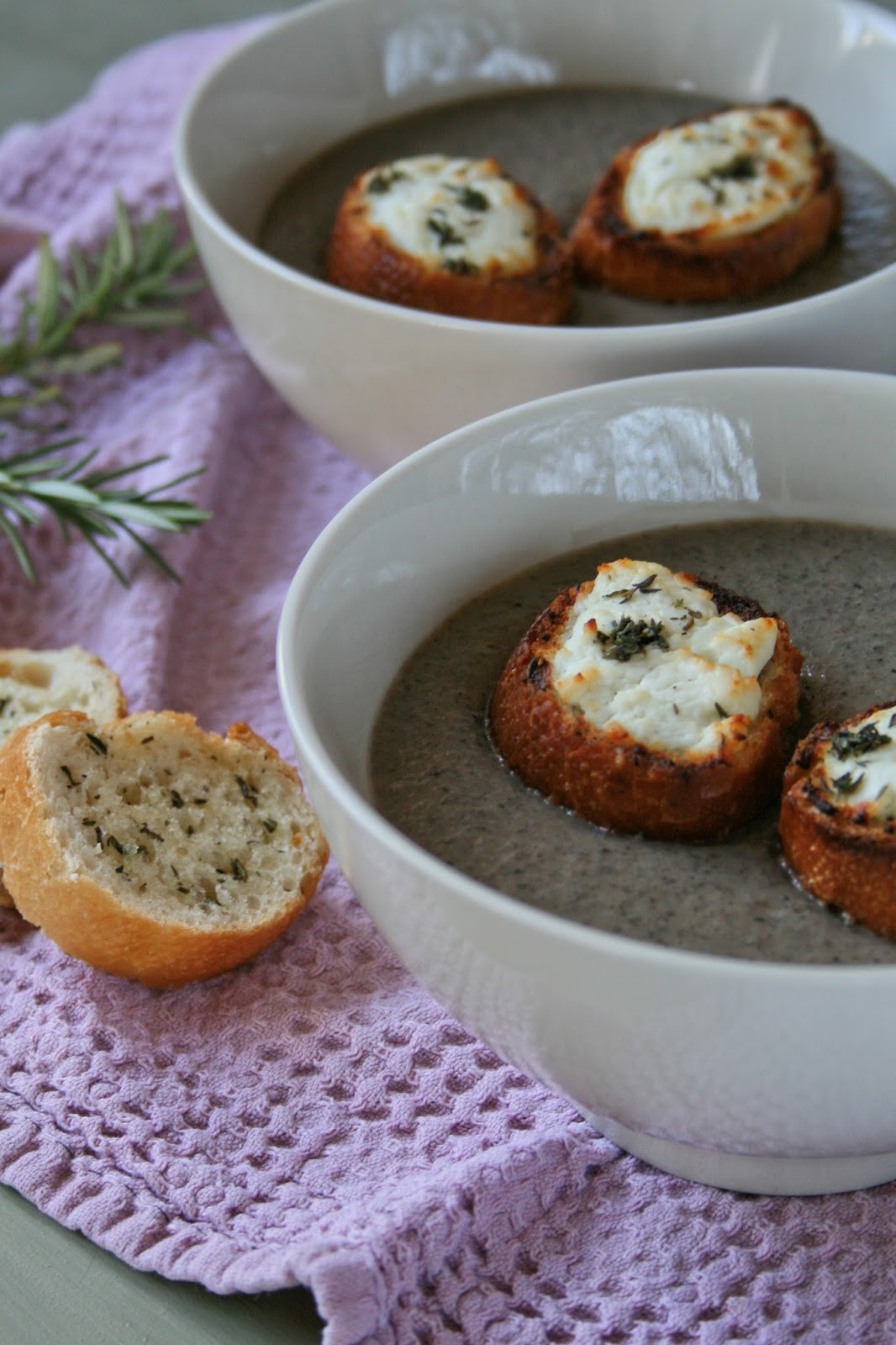 Creamy mushroom soup with toasted baguette.