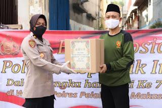 Sambut Hari Jadi Polwan 73, Polres Pelabuhan Makassar bagikan Sembako