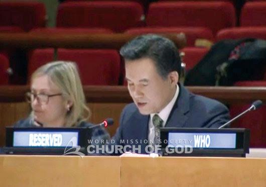 Hauptpastor der Gemeinde Gottes Kim Joo-Cheol bei der hochrangigen Konferenz der UN CERF.