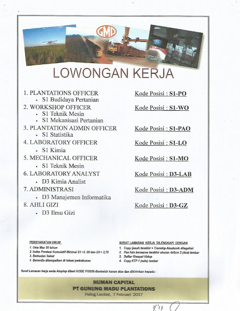 Lowongan Kerja PT. Gunung Madu Plantations