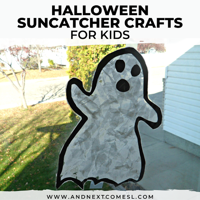 DIY Halloween suncatchers the kids can make