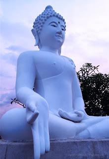 Varada Mudra Position Of Big White Buddha Statues At Buddhist Temple, North Bali, Indonesia