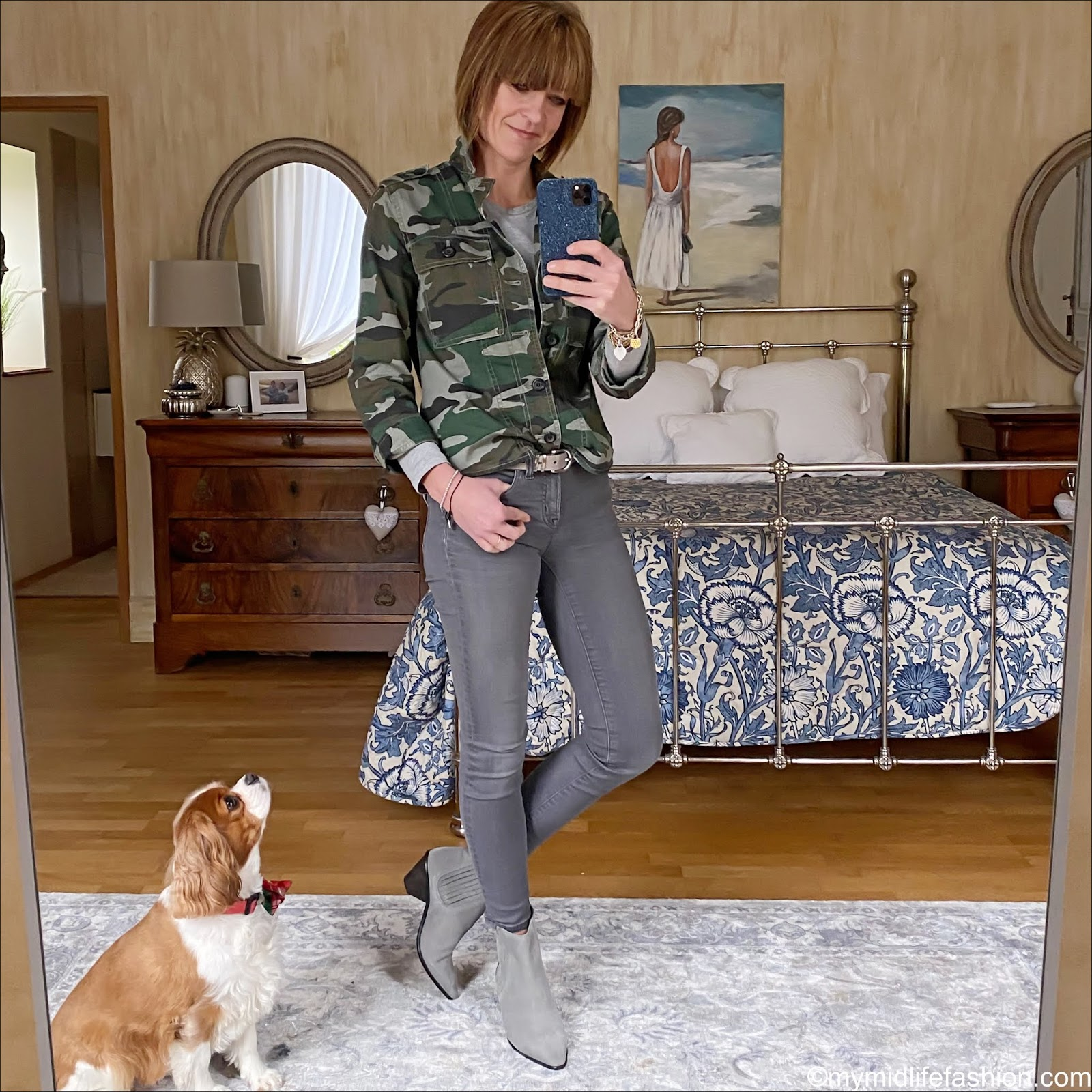 my midlife fashion, j crew camouflage overshirt, Marks and Spencer pure cotton straight fit t shirt, the white company suede belt, j crew 8 inch toothpick jeans, jigsaw western heel ankle boots