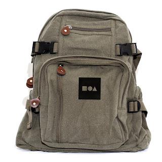 bauhaus logo on a backpack made by medium contol.