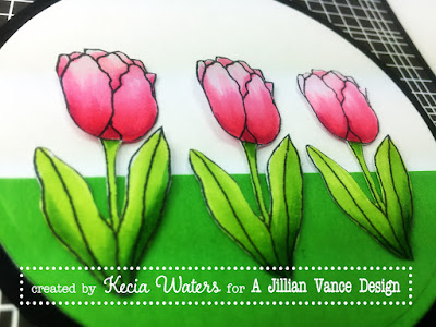 AJVD, Kecia Waters, tulips, Copic markers, Becky Schultea