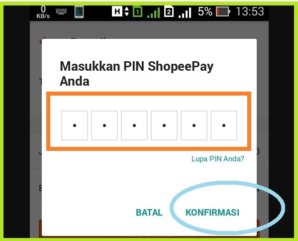 Mengkonfirmasi Dengan PIN ShopeePay