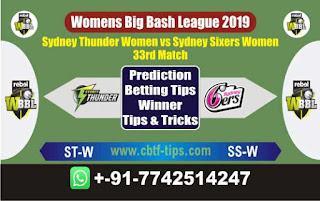 Who will win Today WBBL 2019, 33th Match Thunder vs Sixer 33th, WBBL T20 2019