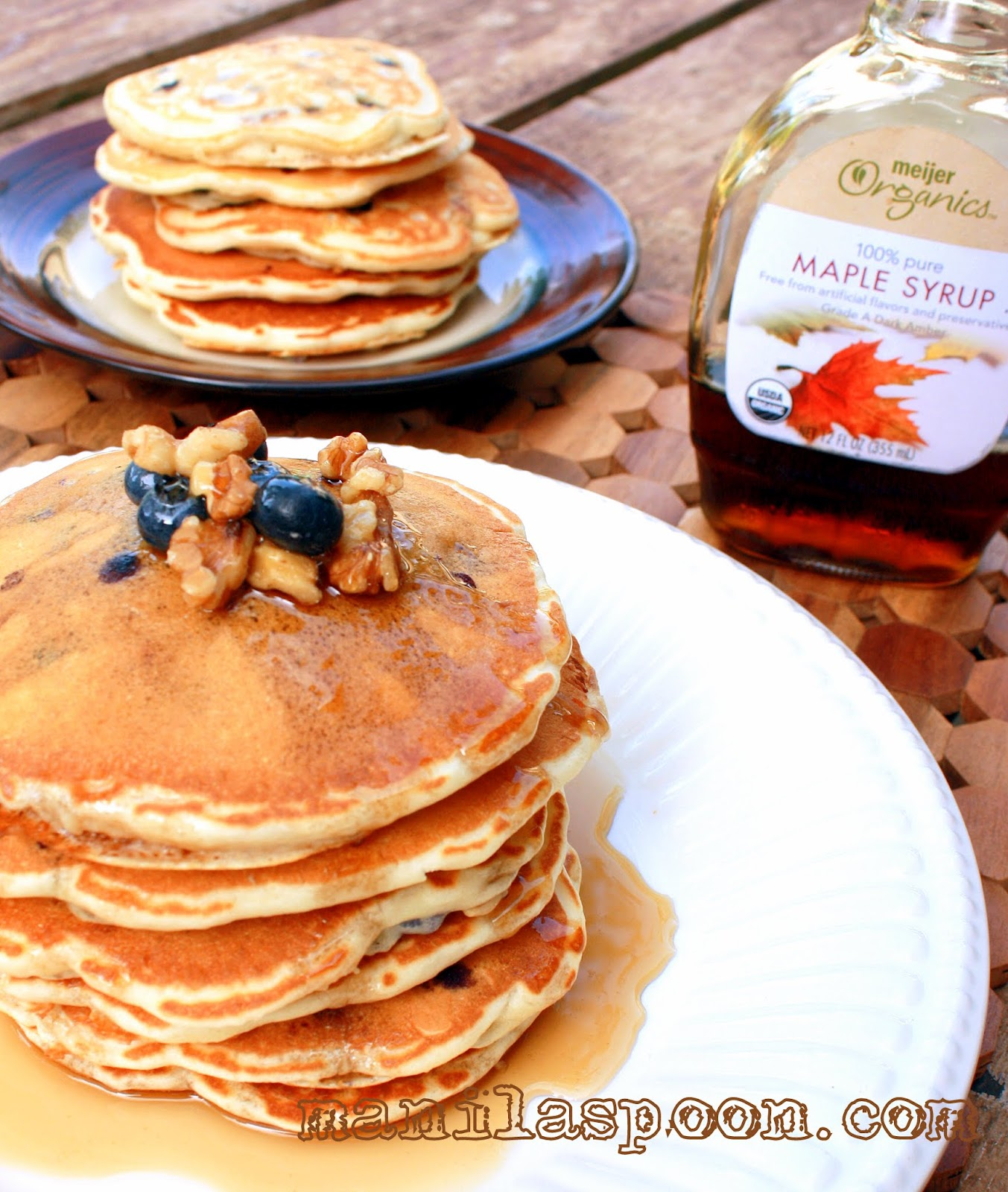 Fluffy Pancakes with Blueberries and Walnuts