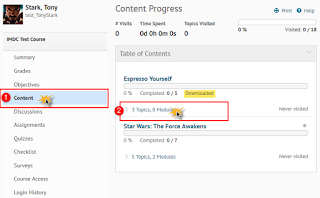 screenshot of Class Progress tool with Content selected and module tagged with Downloaded tag