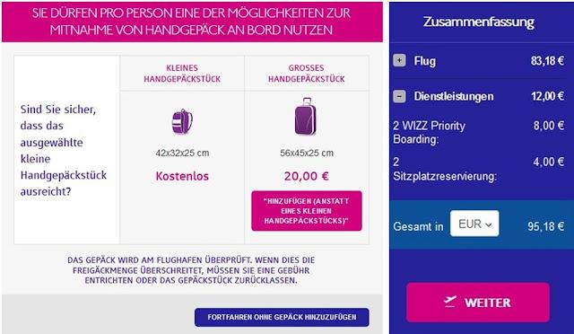Wizzair - Flugbuchung mit Zusatzleistungen