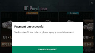 Cara Mengatasi Payment Unsuccessful Top Up Pulsa PUBG Mobile