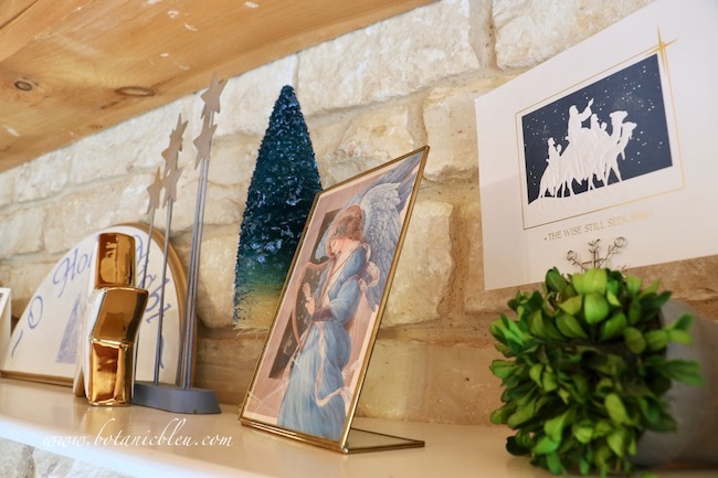 Blue O Holy Night shelf decor includes a beautiful card of a blue-robed angel playing a harp