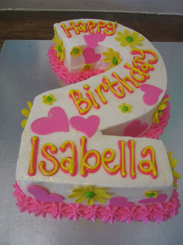 Cake Place Number 2 Birthday Cake With Daisies And Hearts