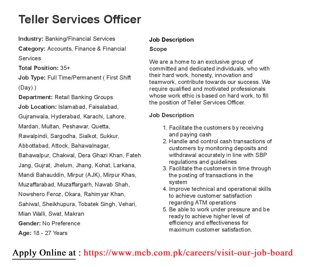 Jobs in MCB, MCB Bank Jobs 2019 August, MCB Careers 2019