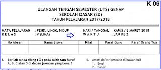 Soal UTS 2 PLH Kelas 5 SD Terbaru dan Kunci Jawaban